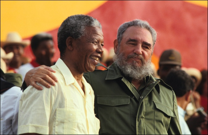 Nelson Mandela And Fidel Castro At Anniversary Of Moncada Barracks Attack